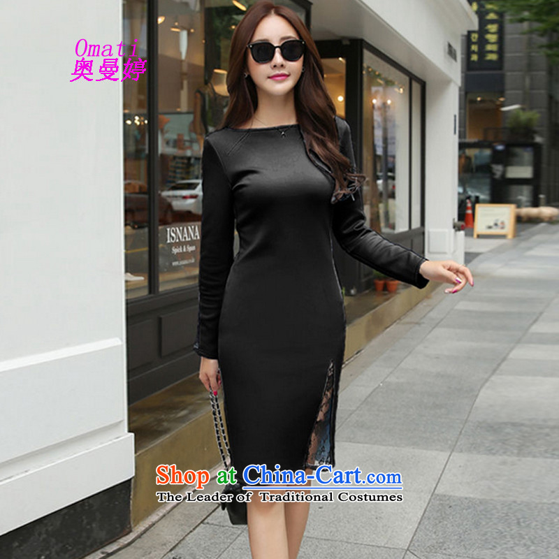 Aumain Ting dress long skirt 2015 Fall/Winter Collections of tight new long-sleeved fluoroscopy lace package and fads, forming the dresses black?L