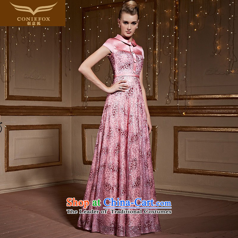 The kitsune?2015 autumn and winter creative new pink bride wedding dress bows services under the auspices of long dresses elegant woman bridesmaid dress long skirt 31021 pink?L pre-sale
