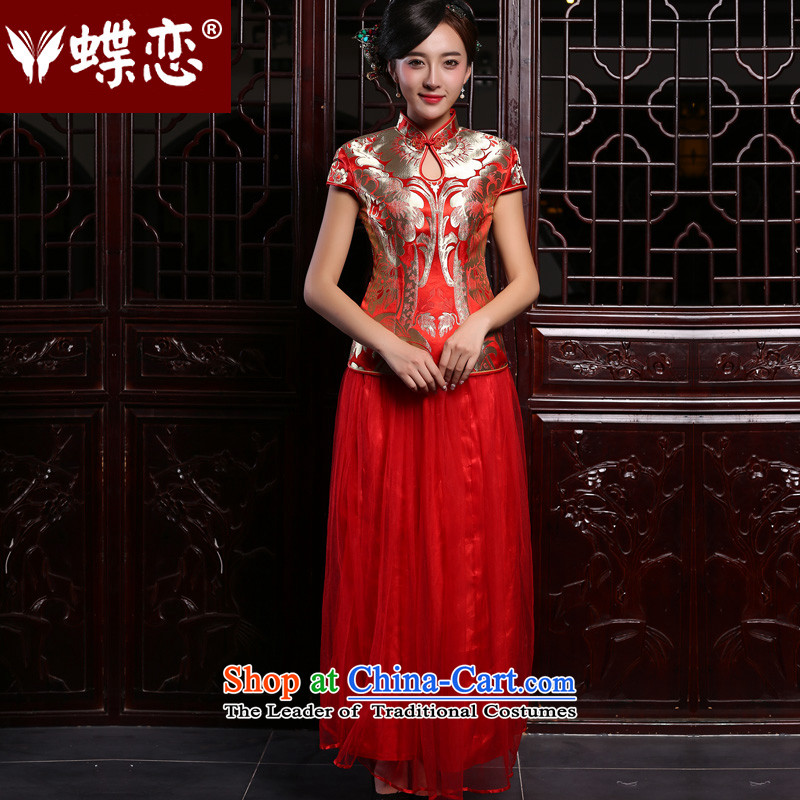 Butterfly Lovers 2015 Autumn new, red Chinese bows two kit retro long cheongsam dress red - pre-sale 7 days?XS