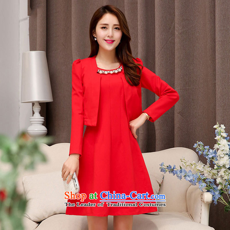The nest products won version of large red two kits dresses small dress dress back to door onto the bride bows dress redXXL