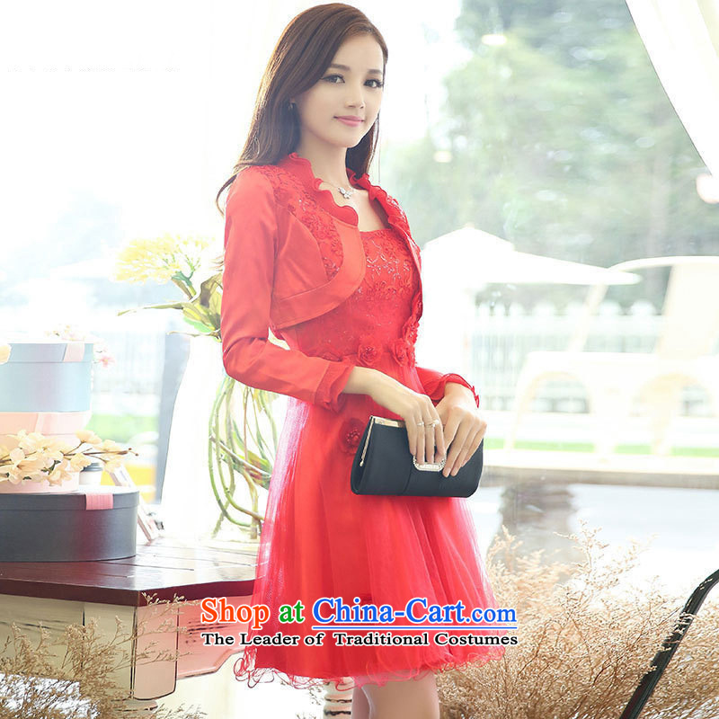 The nest products?2015 evening dresses marriage bows banquet A long-sleeved Skirts 2 piece dresses red?L
