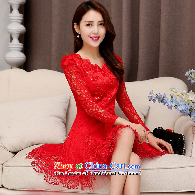 The nest products new women's stylish Sweet Korean dresses bow tie toasters booking wedding dress bride back to door onto bows services red V-Neck L