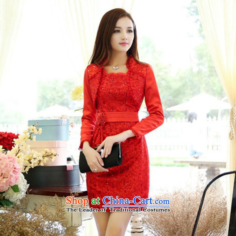 The nest products elegance Lace Embroidery dresses marriage bows service bridal dresses red?L