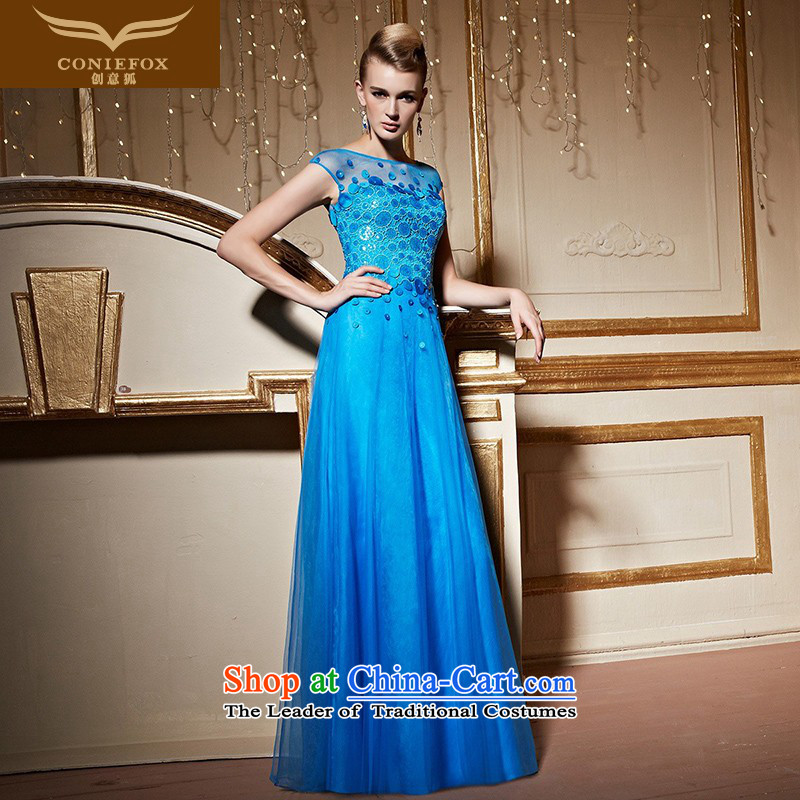 The kitsune stylish package creative shoulder banquet dinner dress blue dress girl will preside over long drink service     evening dress skirt 31032 blue?S