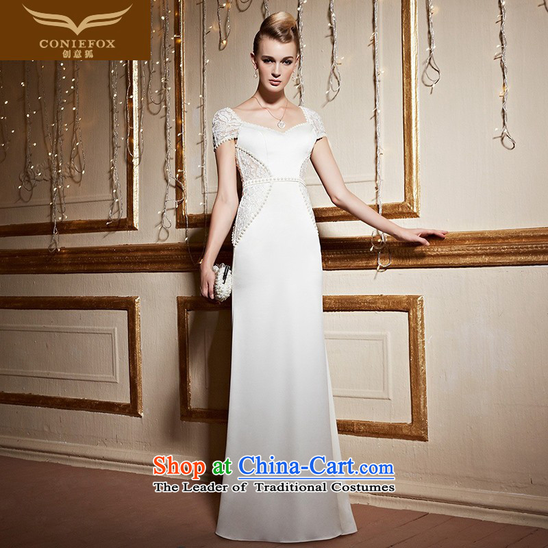 The kitsune stylish package creative shoulder banquet dinner dress white long gown under the auspices of Sau San aristocratic evening drink service birthday party dress skirt 31051 White?XXL pre-sale