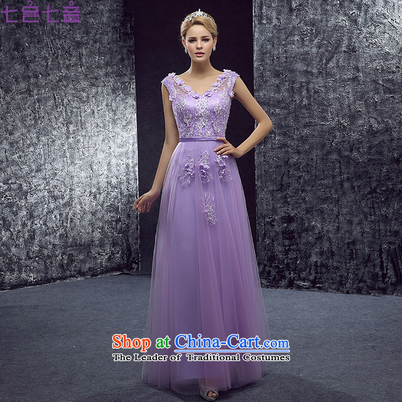 7 Color 7 tone Korean New 2015 V-Neck shoulders flowers evening dresses marriage long service bows dresses dress?L052?tailored light violet