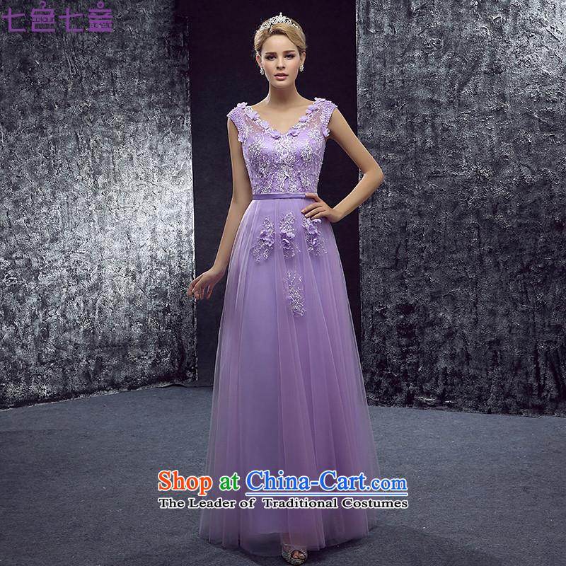 7 Color 7 tone Korean New 2015 V-Neck shoulders flowers evening dresses marriage long service bows dresses dress�L052�tailored light violet