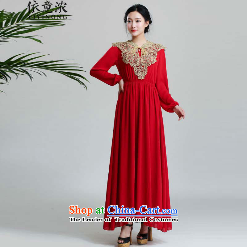 In accordance with the intent of the? muslim dress skirts 9505# thick Islamic long-sleeved gold wire shawl long long-sleeved dresses red?L