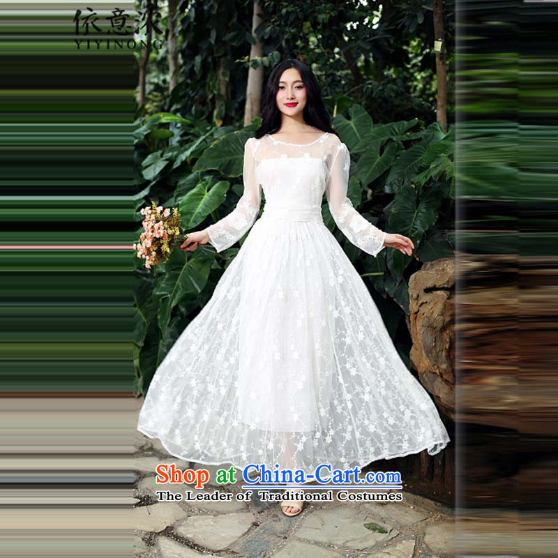 In accordance with the intention is thicker? 9566# full lace large beyond-the-long skirt court dress lace dresses White?M