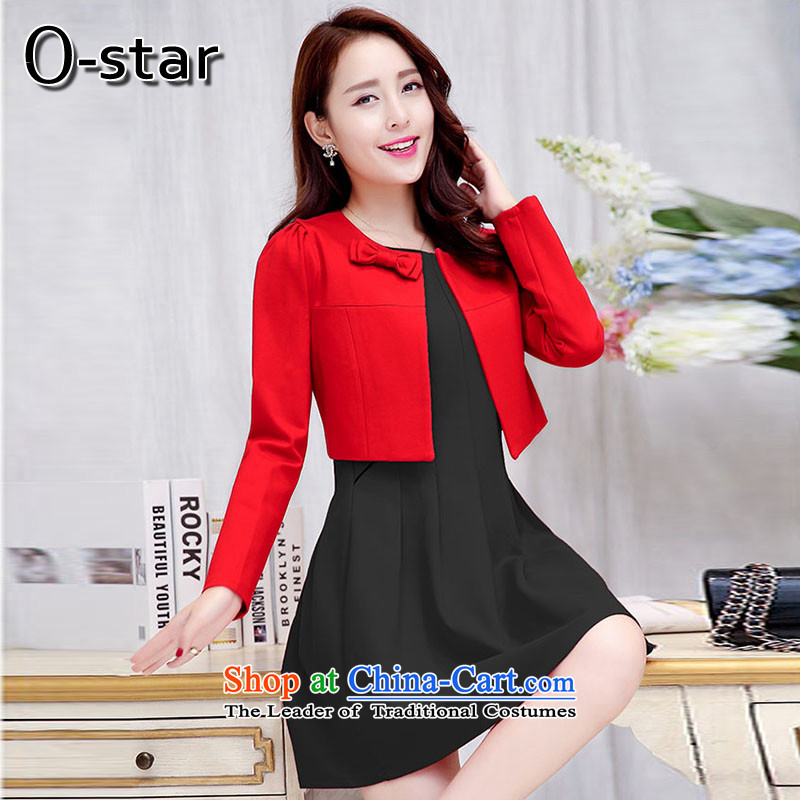 In the autumn of 2015, New o-star) bridesmaid marriage bows evening dresses female red long wedding dress two kits dresses Red and Black?XL