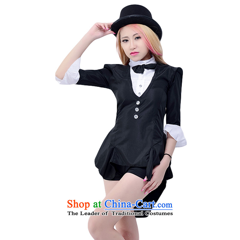 New autumn and winter black frock coat magician stage costumes show service uniforms Bar Night Club dance performances to female jazz dance ds girl hit songs show track suit + pants + Hat package XXL