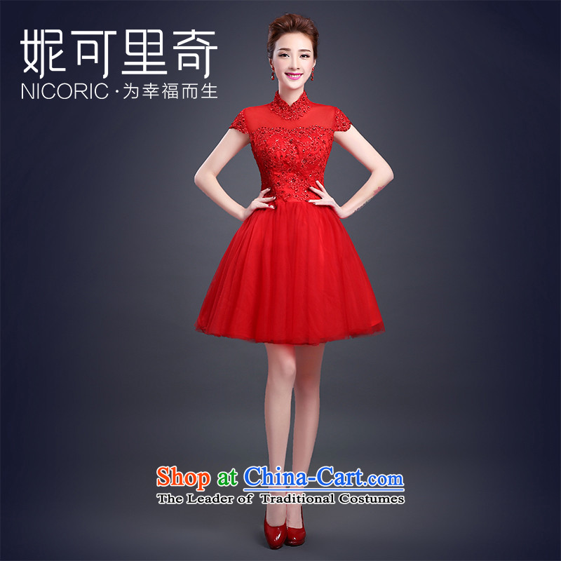 _double-Xi urged bows as soon as possible to serve 2015 autumn and winter new red short_ Bride bows to collar lace sleeveless small red dress Sau San?XL