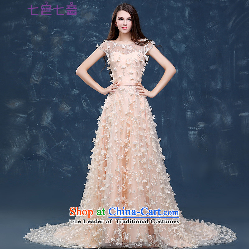 7 7 color tone?2015 new tail summer long moderator dress banquet marriages bows to the autumn and winter evening dresses?L053?bare pink?XL