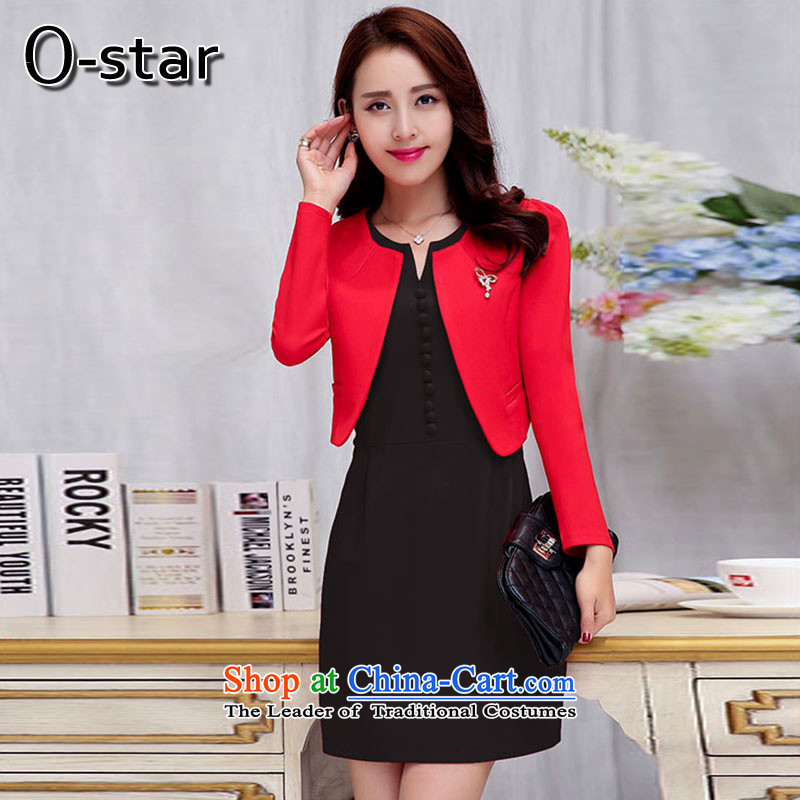 The autumn 2015 new o-star two kits dresses Sau San simple and classy red dress dress Red and Black?XL