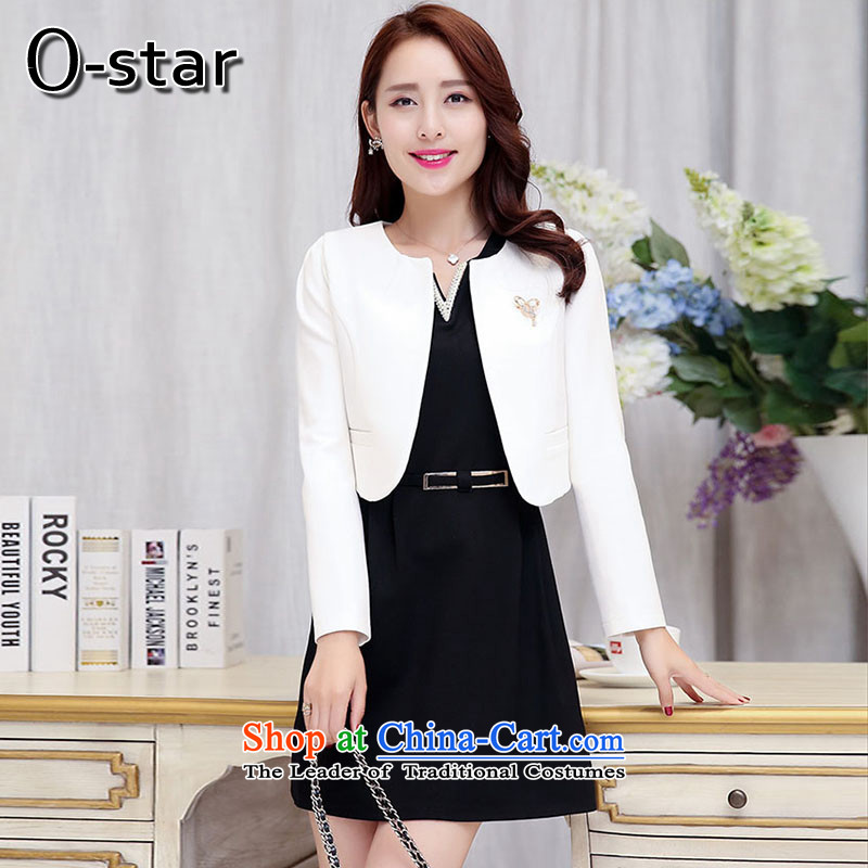 The autumn 2015 new o-star Sau San minimalist long-sleeved dresses dress two kits skirt and white Black?XL
