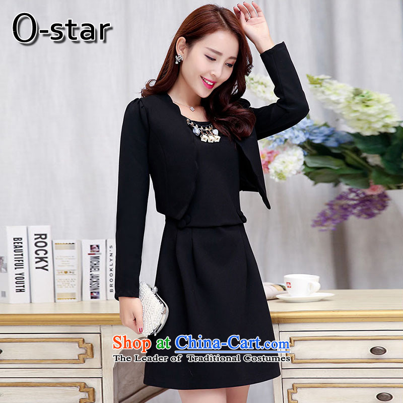 The autumn 2015 new o-star two kits skirt Fashion back door onto the small red Chinese marriage dress bows to Sau San black black?M