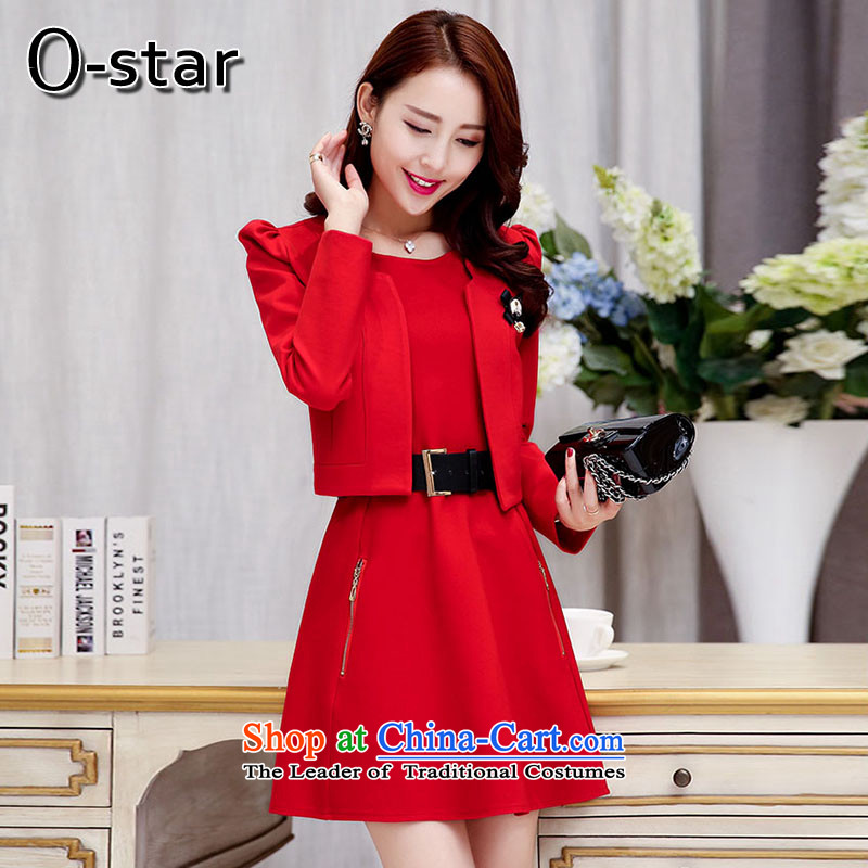 The autumn 2015 new o-star wedding dress bride banquet small wind stylish look of incense Sau San women thin graphics long-sleeved red�L