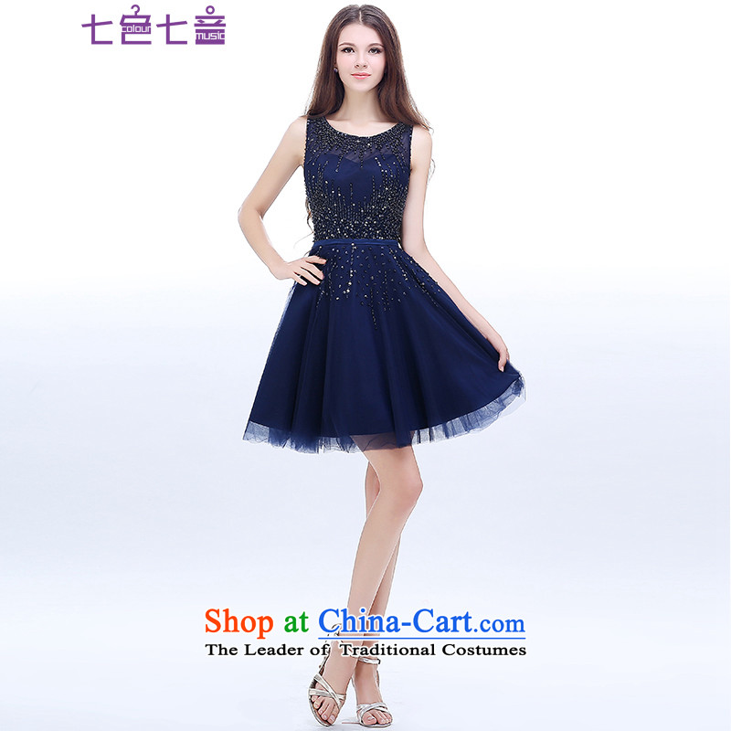 7 7 color tone , 2015 New short bridesmaid mission dress Korean small blue dress evening dresses and sisters skirt autumn and winter clothing L054 bridesmaid dark blue S