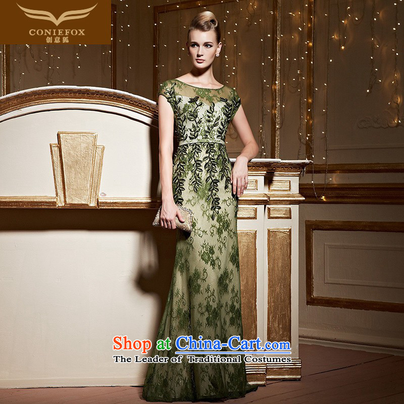 Creative Fox crowsfoot package shoulder banquet evening dresses lace tail dress long skirt annual meeting under the auspices of the girl will dress bows services long over KRW 3,105.6 dark green�M
