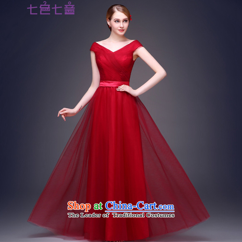 7 7 color tone?2015 new autumn and winter moderator Red Dress Female dress long marriage bows services?L055 banquet?wine red?XL