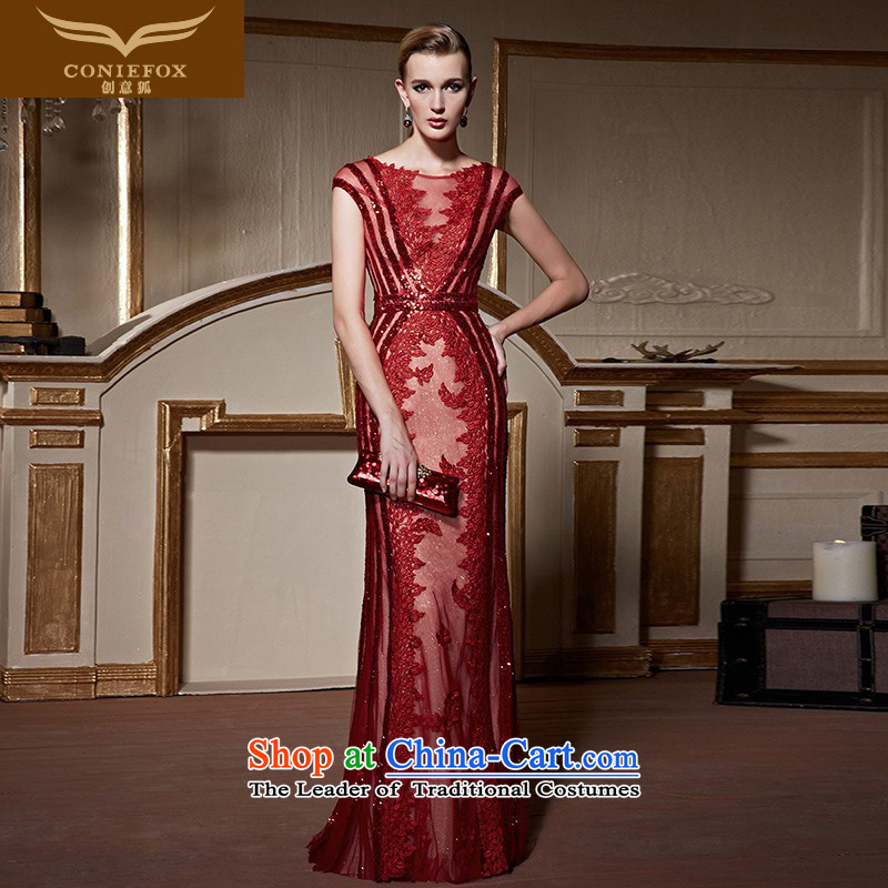 The kitsune�2015 autumn and winter creative new banquet evening dresses red bride wedding dress evening drink service graphics and slender, 31063 skirt red dress�S pre-sale