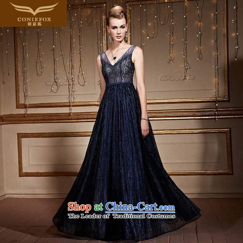 Creative Fox shoulders banquet evening dresses and stylish V-Neck chaired the girl will dress evening drink served long gown skirt gathering 82232 Blue?M