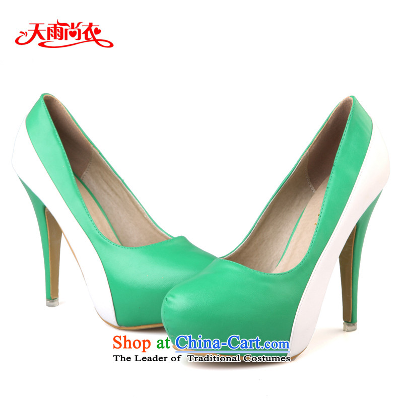 Rain-sang Yi marriages stylish dress shoes wedding single shoe color stage performances the the high-heel shoes XZ050 Green?36