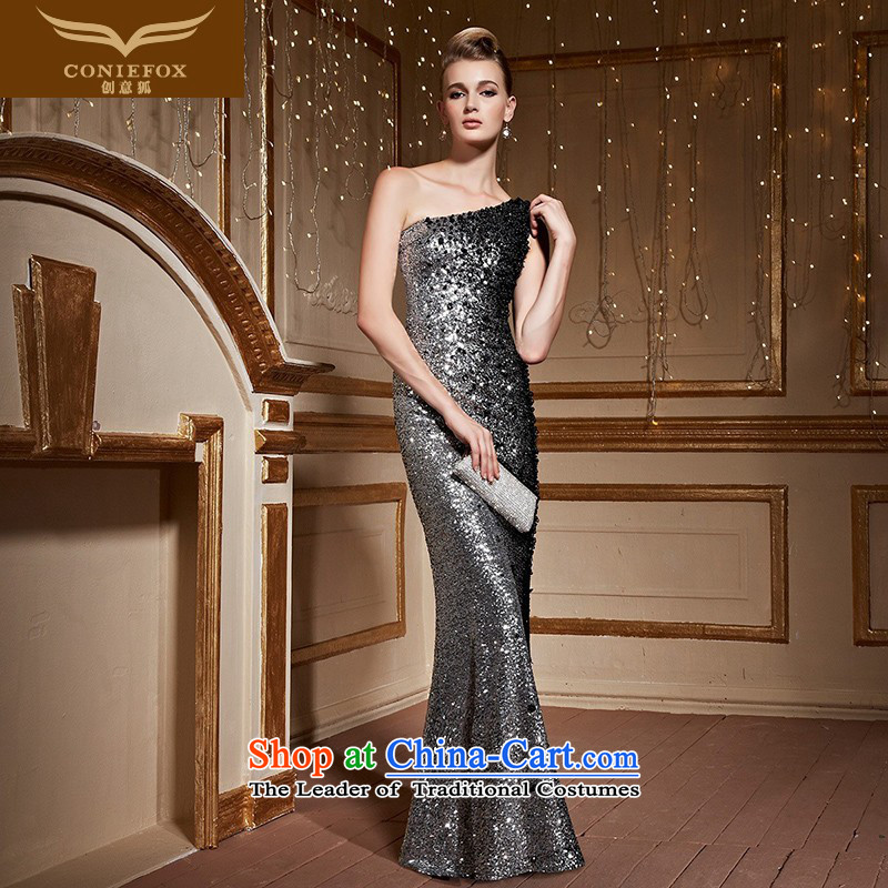 Creative Fox shoulder dress banquet evening dresses long serving under the auspices of Female dress bows will crowsfoot video thin package and dress skirt?82251?silver gray?XXL pre-sale