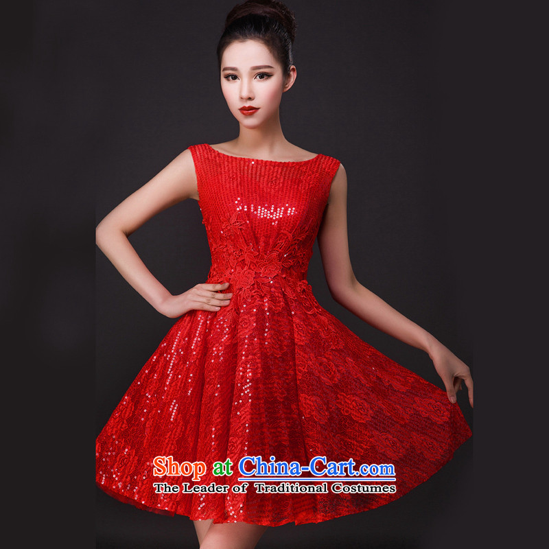 Time the?new 2015 Syria a summer short of field shoulder bridal dresses in the betrothal of girls marry red toasting champagne sleeved clothing dresses autumn?XXL