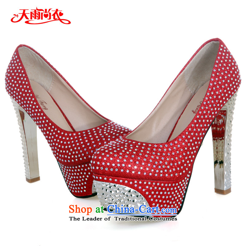 Rain-sang Yi marriages stylish dress shoes wedding on single-stage performances shoes color ultra-high-heel shoes XZ053 Red?37