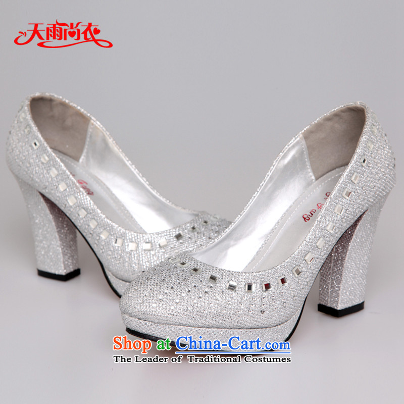 Rain-sang Yi marriages shoes wedding dresses red high-heel shoes XZ055 Silver?34