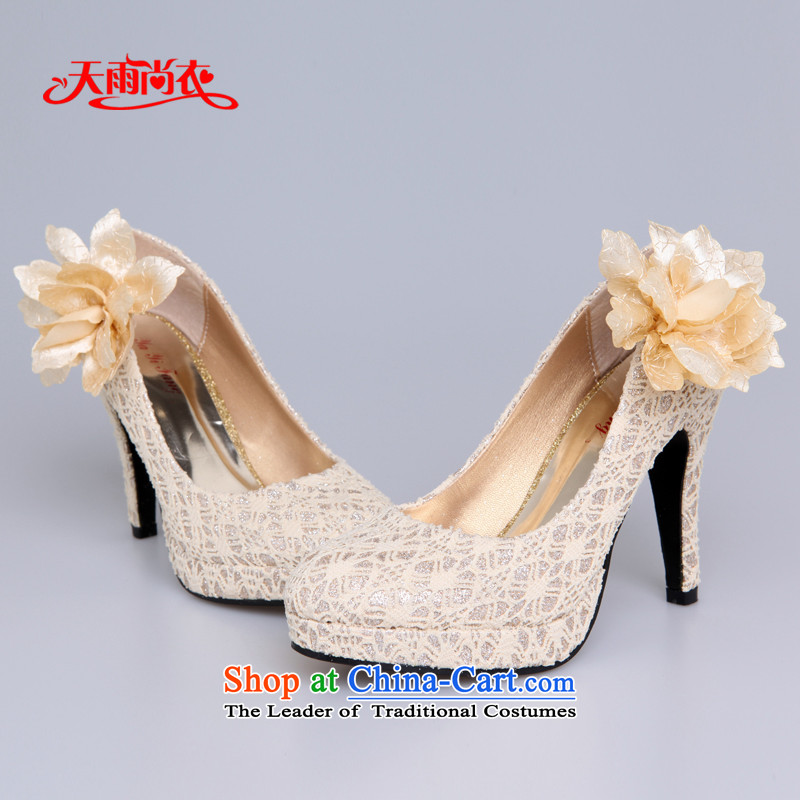 Rain-sang yi bride wedding dresses single shoe marriage red high-heel shoes XZ056 Golden聽37