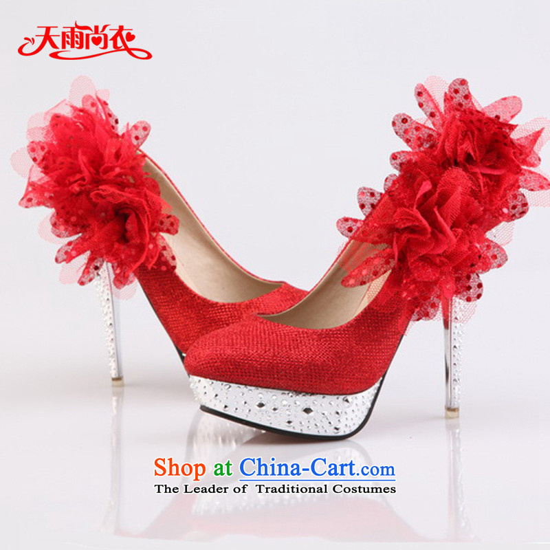 Rain-sang yi bride wedding dresses single shoe marriage flashing red high-heel shoes XZ060 Red?34