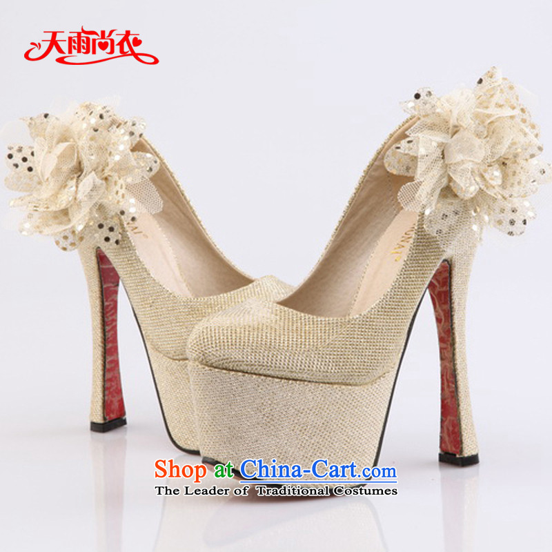 Rain-sang yi bride wedding dress wedding single stage performances ultra-high shoes heel shoes XZ061 Golden 37
