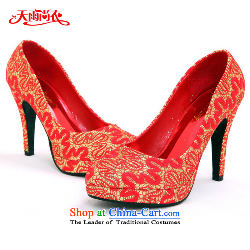 Rain-sang yi new bride marriage shoes red high-heel shoes dress shoes qipao shoes XZ066 marriage Red?35