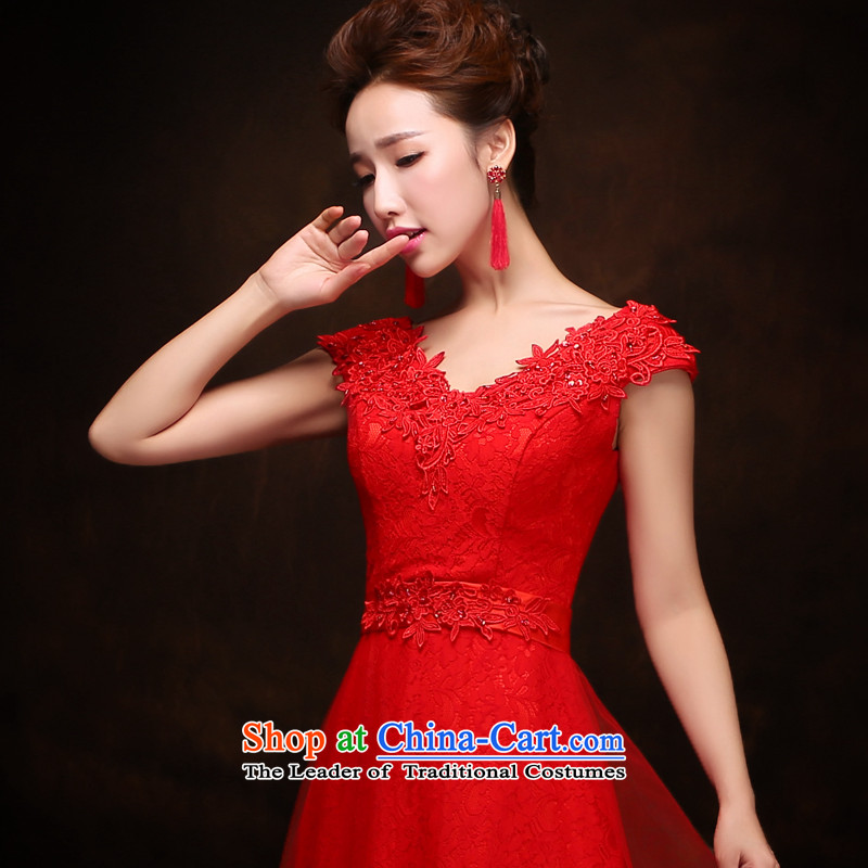 Time Service Bridal Fashion Syria bows 2015 evening dresses long word   shoulder wedding wedding dress autumn and winter red?L