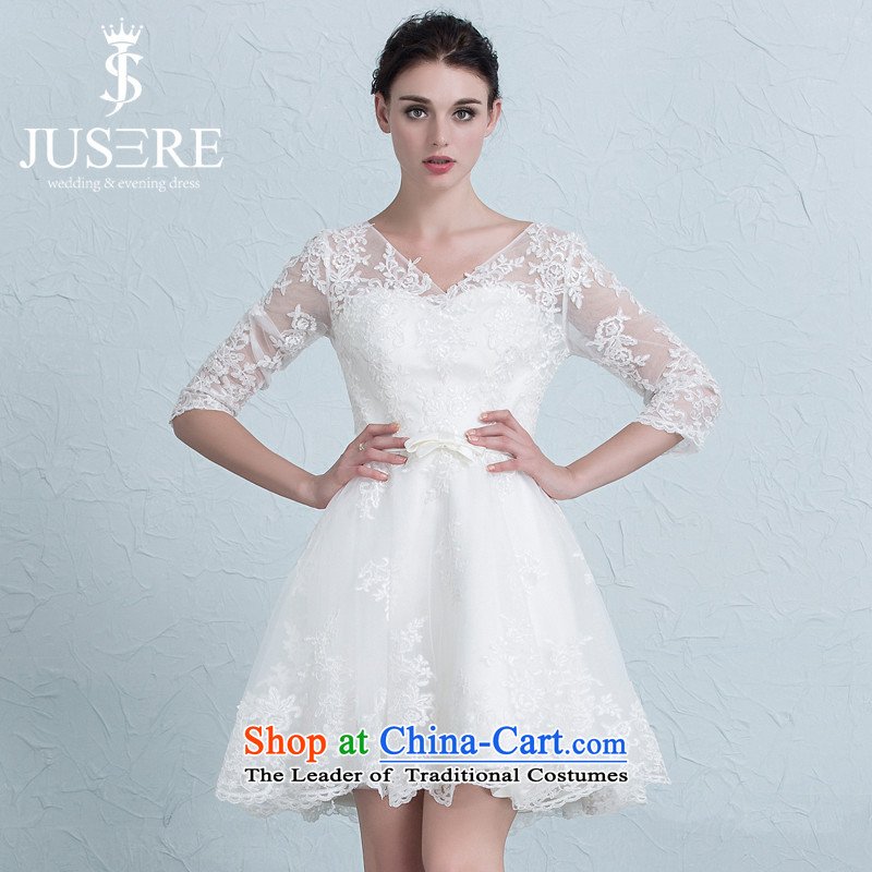 There is a wedding dresses short-sleeved) bridesmaid services Sau San lace strap evening dress Bridal Services White 4 yards of the bows