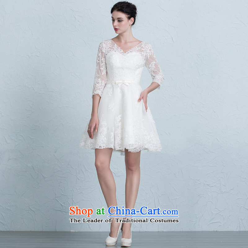 There is a wedding dresses short-sleeved) bridesmaid services Sau San lace strap evening dress Bridal Services White 4 yards of the bows, HOC , , , shopping on the Internet