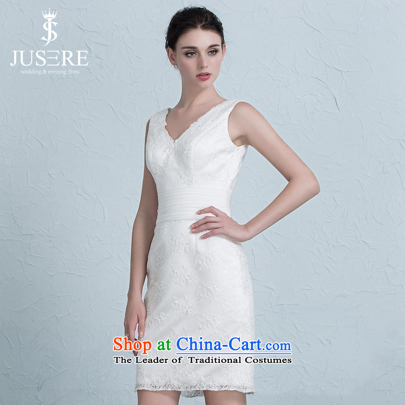 No new types of wedding dress short_ package and bridesmaid to Sau San V-Neck evening dress bride services white聽4 yards of the bows