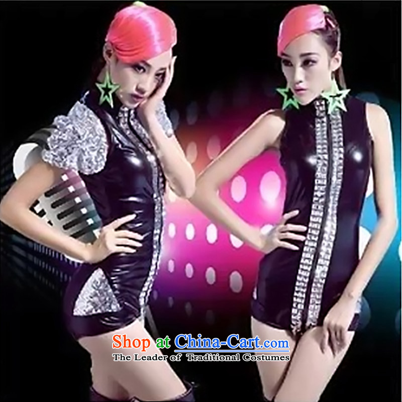 The new ultra stylish 2015 DJ stylish singer jazz arena ds costumes and sexy atmospheric shrugged shoulders varnished leather-yi DS stage dance color picture services?XL