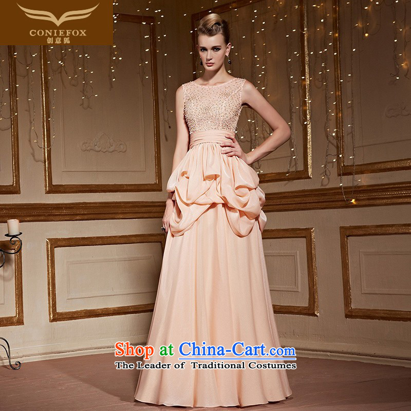The kitsune�2015 autumn and winter creative new video thin shoulders banquet hosted evening dresses dress female will wedding dress evening drink service 82252 orange�S pre-sale