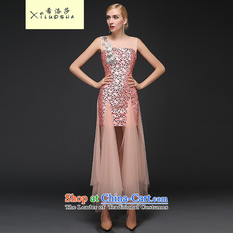 Hillo Lisa (XILUOSHA banquet evening dress) Chairpersons will dress female Paper Cutting in the stylish service bows marriage embroidery 2015 new autumn pink?XXL
