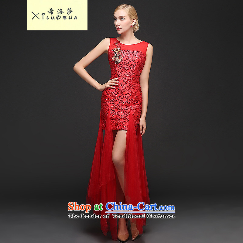 Hillo XILUOSHA Lisa _short_ Bride dresses_ bows services red wedding marriage dress shoulders 2015 new fall banquet evening dress red聽XL