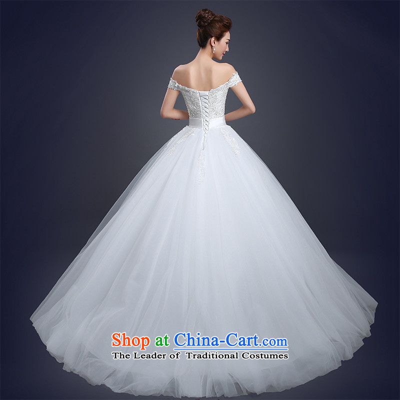 Wedding dress of autumn and winter 2015 new word shoulder and chest bride wedding on drill strap bon bon skirt small trailing wedding Sau San?1m tail?XXL
