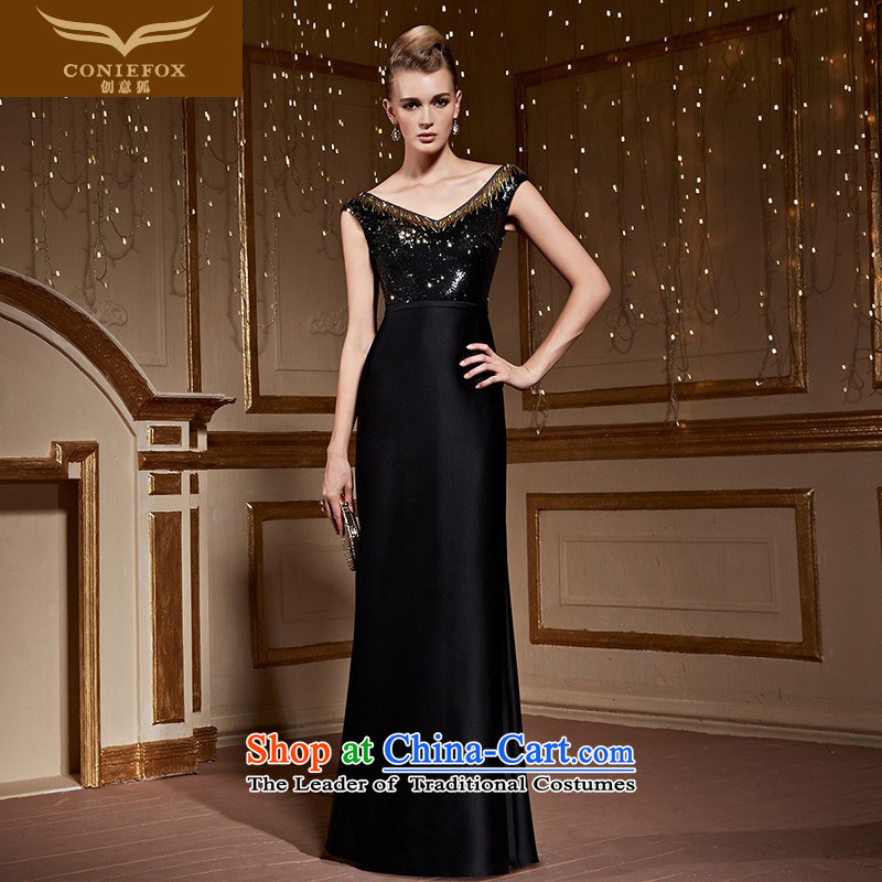 The kitsune stylish package creative shoulder black dress reception banquet party evening drink service graphics and slender, under the auspices of the annual skirt dress suit 82253 Black�M pre-sale