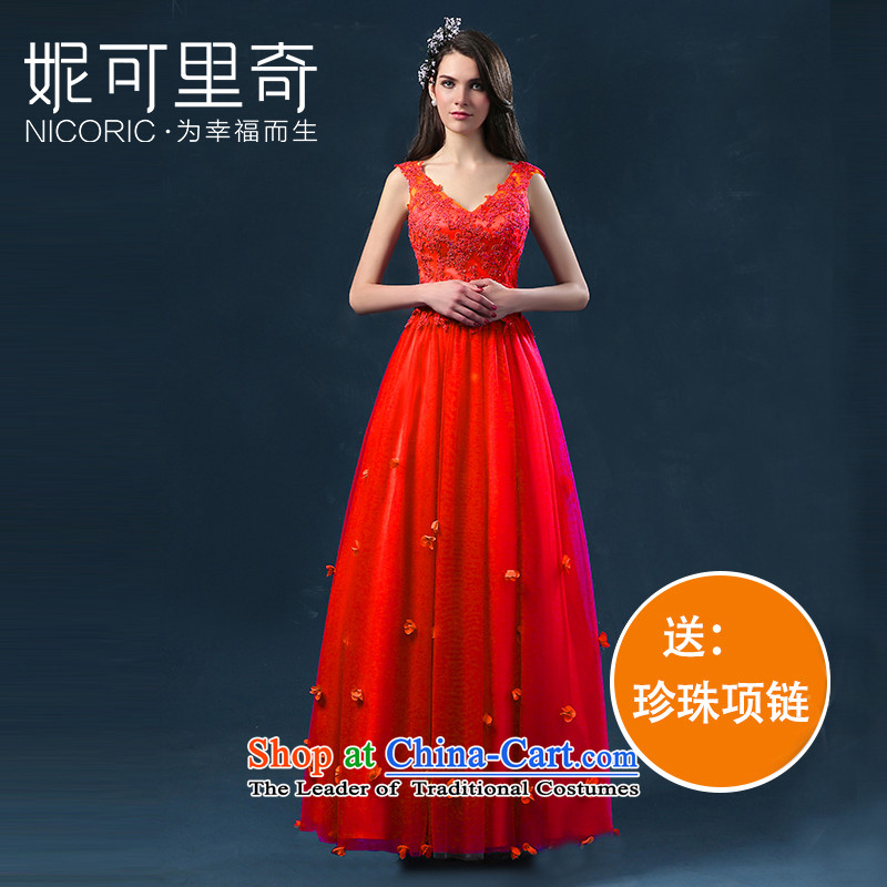 The new 2015 Service bows of autumn and winter shoulders V-Neck Bridal Services flowers skirt is followed, with evening dresses RED M standard code for Sau San 3-5 day shipping.)