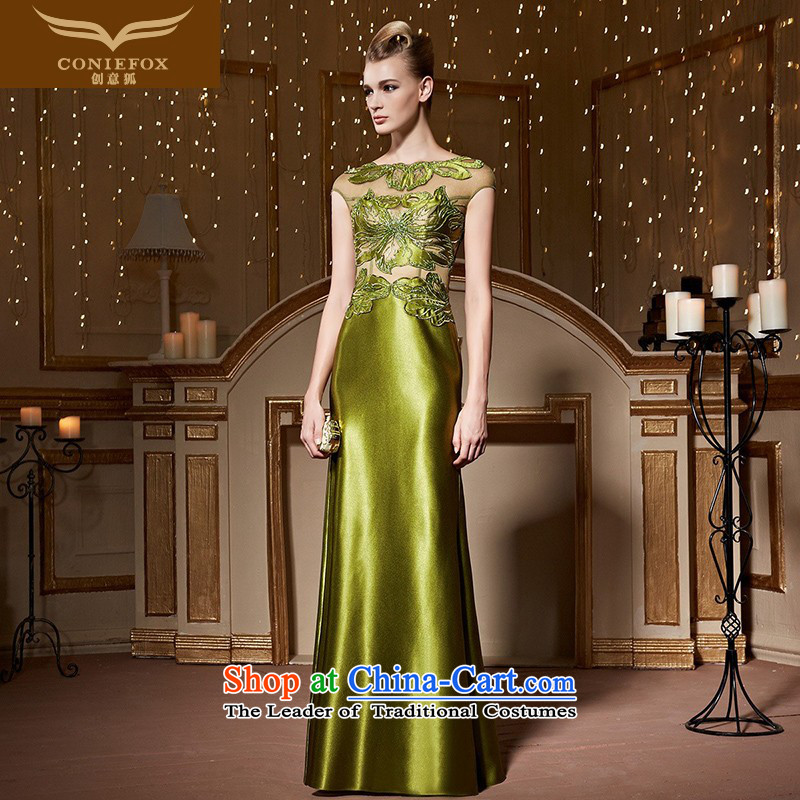 Creative Fox banquet evening dresses long under the auspices of Sau San dress girl will long skirt Fashion embroidered evening dress toasting champagne Palace serving 82258 light green?S pre-sale