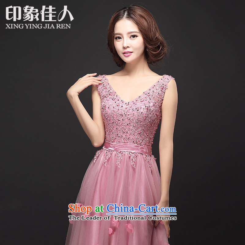 Starring bride dress toasting champagne impression service long shoulders v banquet evening dresses moderator dress dresses strap bridesmaid dress female pink red toner usual zongzi?M