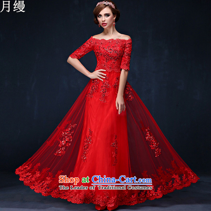 As the word on the shoulder evening dresses new 2015 autumn and winter Korean lace in cuff marriages bows services red long strap red long?M