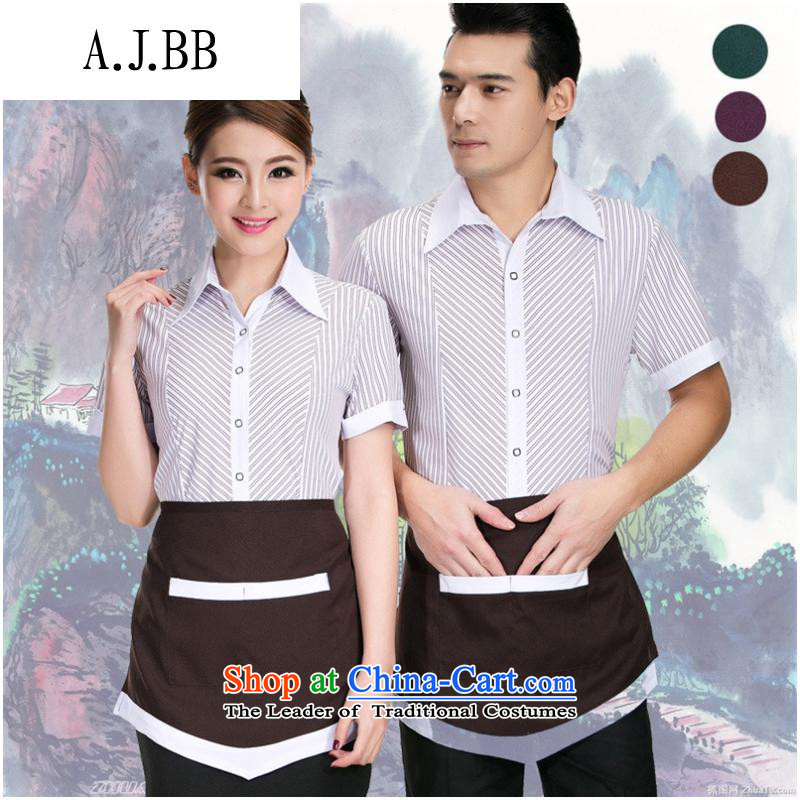 The Secretary for Health related shops _ restaurant workers working dress short-sleeved clothing Hotel Hotel Workwear female food _ beverage clothing summer purple men XL
